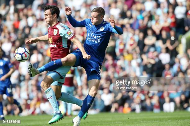 Jamie Vardy of Leicester City in action with Jack Cork of Burnley during the Premier League match between Burnley and Leicester City at Turf Moor on...