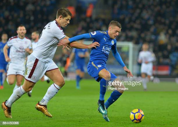 Jamie Vardy of Leicester City in action with James Tarkowski of Burnley during the Premier League match between Leicester City and Burnley at King...