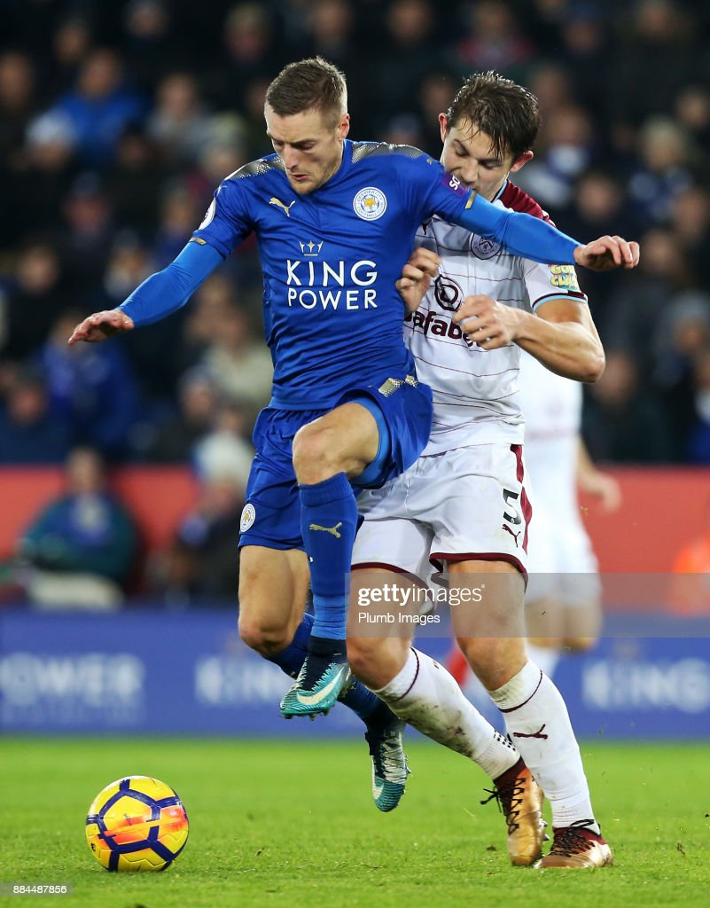 Jamie Vardy of Leicester City in action with James Tarkowski of Burnley during the Premier League match between Leicester City and Burnley at King Power Stadium on December 2nd, 2017 in Leicester, United Kingdom.