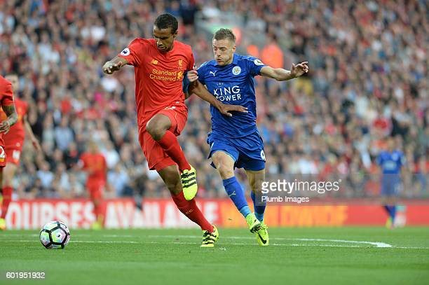 Jamie Vardy of Leicester City in action with Joel Matip of Liverpool during the Premier League match between Liverpool and Leicester City at Anfield...