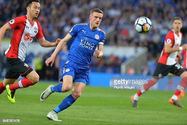 Jamie Vardy of Leicester City in action with Maya Yoshida of Southampton during the Premier League match between Leicester City and Southampton at...