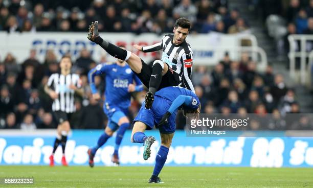Jamie Vardy of Leicester City in action with Mikel Merino of Newcastle United during the Premier League match between Newcastle United and Leicester...