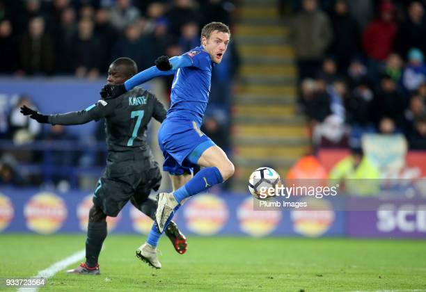 Jamie Vardy of Leicester City in action with N'Golo Kante of Chelsea during The Emirates FA Cup Quarter Final tie between Leicester City and Chelsea...