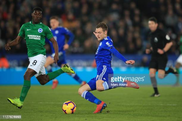 Jamie Vardy of Leicester City in action with Yves Bissouma of Brighton and Hove Albion during the Premier League match between Leicester City and...