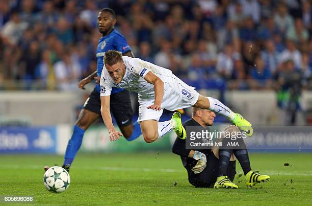 Jamie Vardy of Leicester City is brought down by goalkeeper Ludovic Butelle of Club Brugge leading to a penalty during the UEFA Champions League...