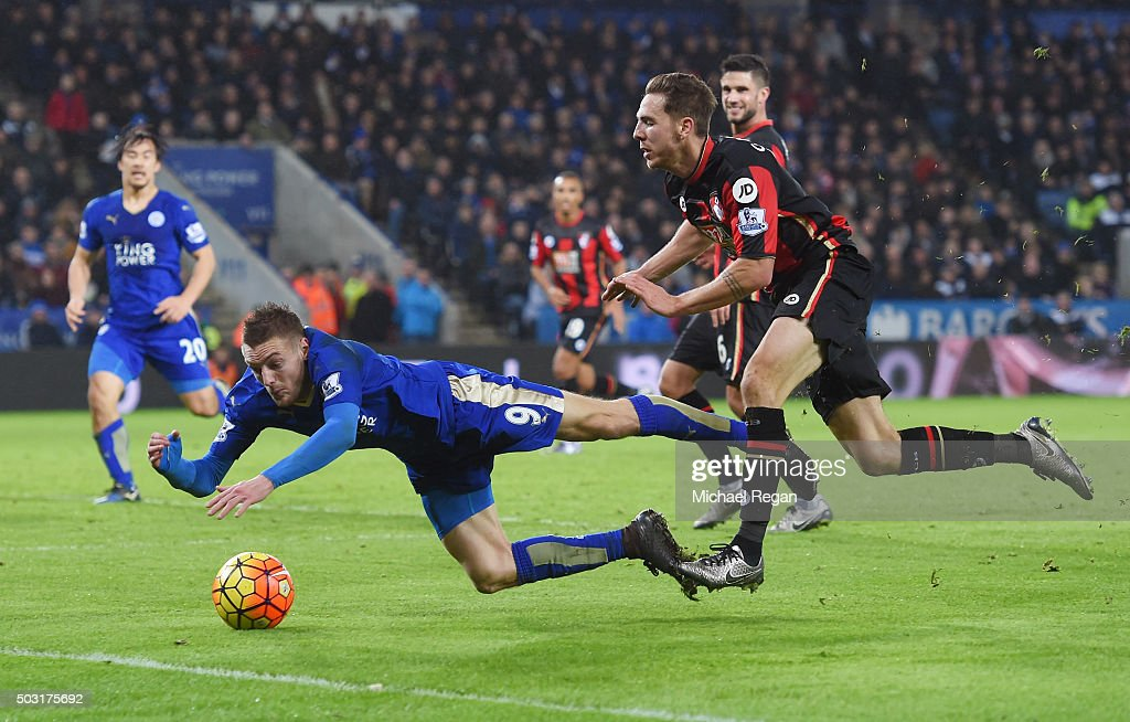 Jamie Vardy of Leicester City is brought down during the Barclays Premier League match between Leicester City and Bournemouth at The King Power Stadium on January 2, 2016 in Leicester, England.