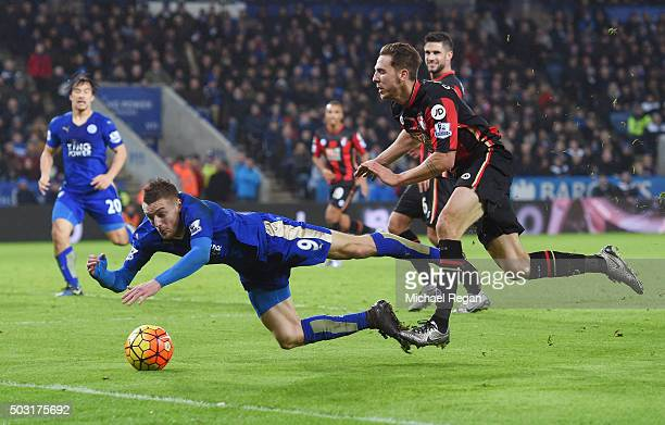 Jamie Vardy of Leicester City is brought down during the Barclays Premier League match between Leicester City and Bournemouth at The King Power...