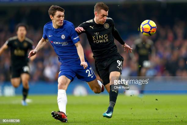 Jamie Vardy of Leicester City is challenged by Andreas Christensen of Chelsea during the Premier League match between Chelsea and Leicester City at...