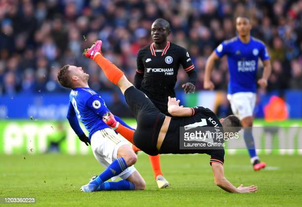 Jamie Vardy of Leicester City is challenged by Mateo Kovacic of Chelsea during the Premier League match between Leicester City and Chelsea FC at The...