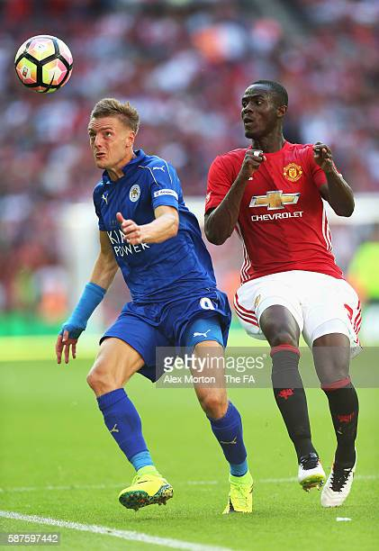 Jamie Vardy of Leicester City is closed down by Eric Bailly of Manchester United during The FA Community Shield match between Leicester City and...