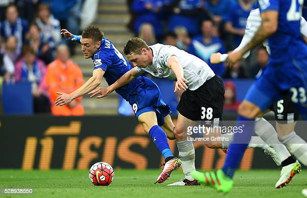 Jamie Vardy of Leicester City is fouled by Matthew Pennington of Everton resulting in a penalty kick during the Barclays Premier League match between...