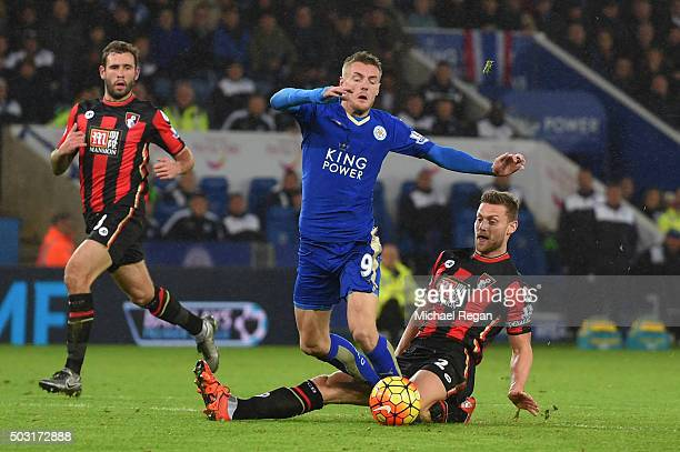 Jamie Vardy of Leicester City is fouled by Simon Francis of Bournemouth resulting in the penalty during the Barclays Premier League match between...