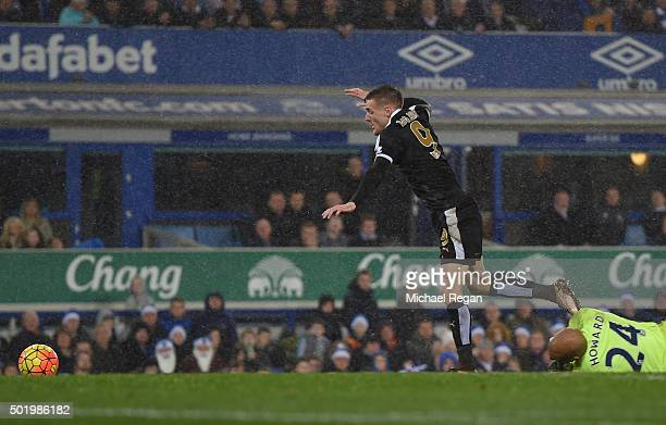 Jamie Vardy of Leicester City is fouled by Tim Howard of Everton in the penalty area resulting in a penalty during the Barclays Premier League match...