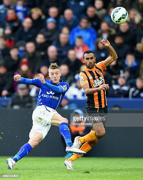 Jamie Vardy of Leicester City is put under pressure by Ahmed Elmohamady of Hull City during the Barclays Premier League match between Leicester City...