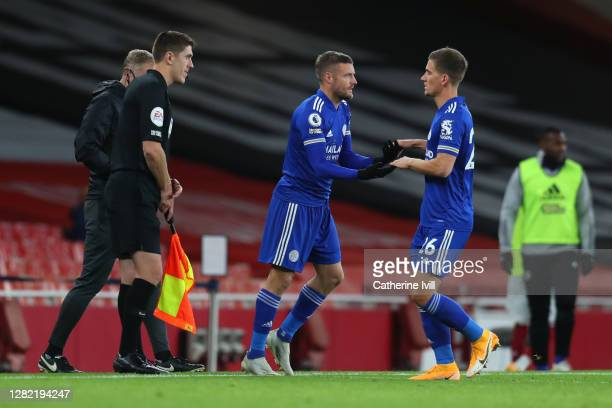 Jamie Vardy of Leicester City is substituted on for Dennis Praet of Leicester City during the Premier League match between Arsenal and Leicester City...