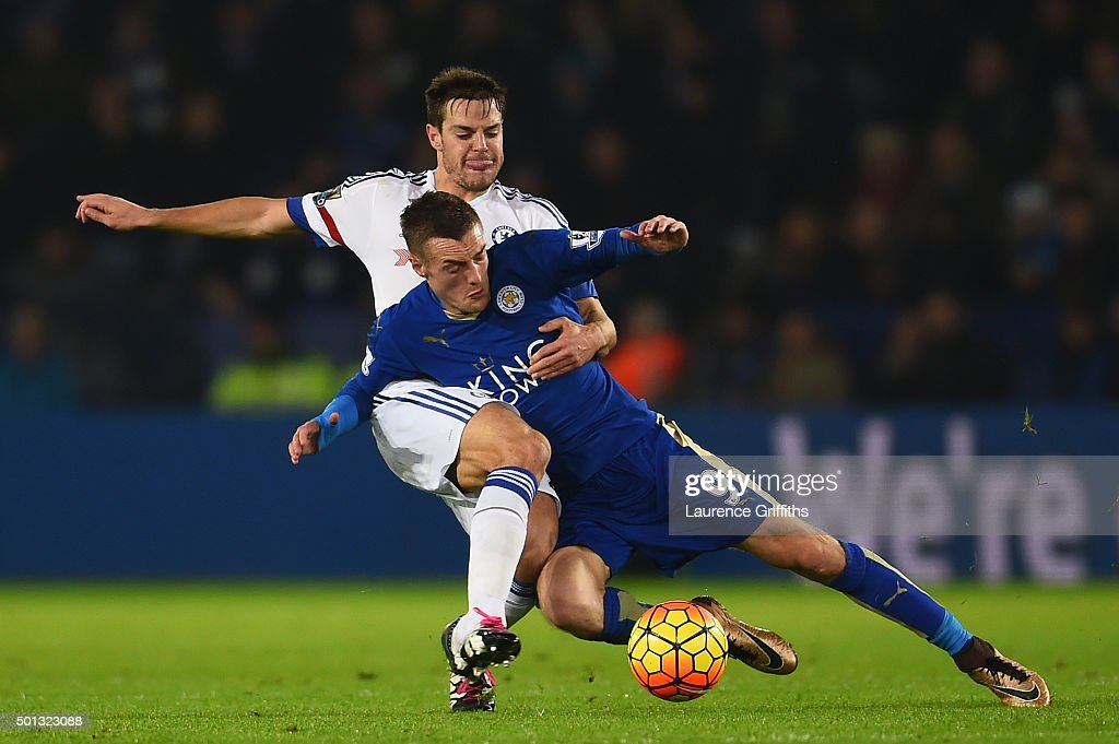 Jamie Vardy of Leicester City is tackled by Cesar Azpilicueta of Chelsea during the Barclays Premier League match between Leicester City and Chelsea at the King Power Stadium on December14, 2015 in Leicester, United Kingdom.