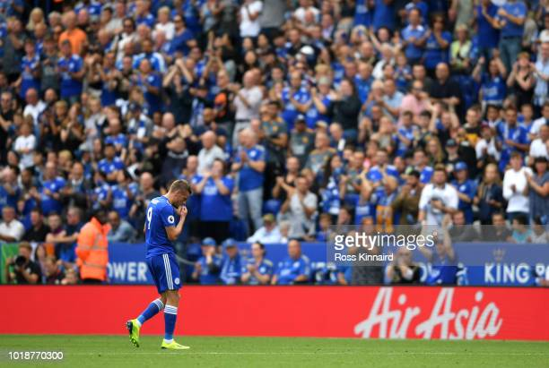 Jamie Vardy of Leicester City leaves the pitch after receiving a red card during the Premier League match between Leicester City and Wolverhampton...