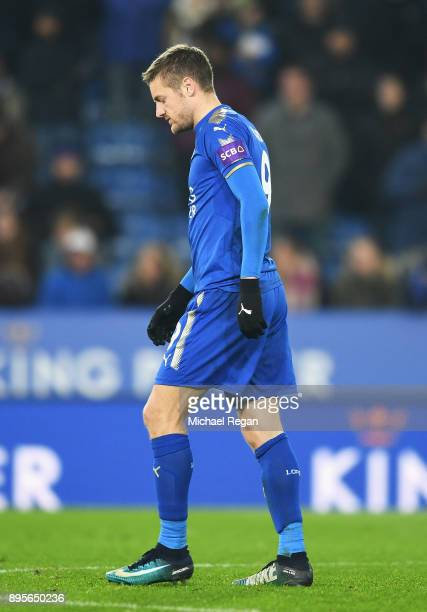 Jamie Vardy of Leicester City looks dejected as he misses a penalty in the shoot out during the Carabao Cup QuarterFinal match between Leicester City...