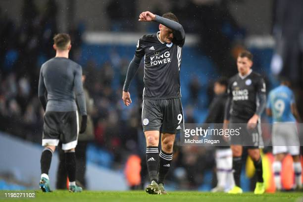 Jamie Vardy of Leicester City looks dejected following the Premier League match between Manchester City and Leicester City at Etihad Stadium on...