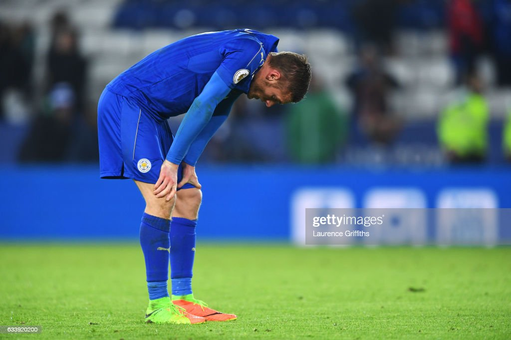 Jamie Vardy of Leicester City looks dejected in defeat after the Premier League match between Leicester City and Manchester United at The King Power Stadium on February 5, 2017 in Leicester, England.