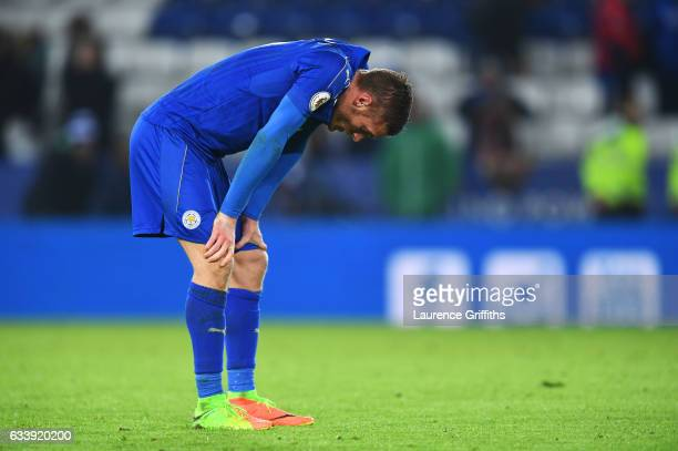 Jamie Vardy of Leicester City looks dejected in defeat after the Premier League match between Leicester City and Manchester United at The King Power...