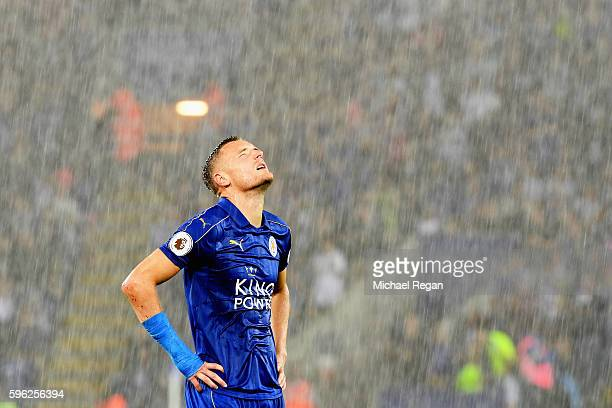 Jamie Vardy of Leicester City looks into the sky during the Premier League match between Leicester City and Swansea City at The King Power Stadium on...