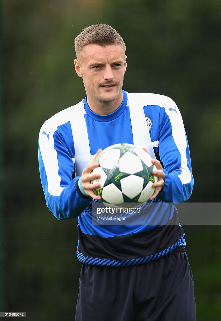 Jamie Vardy of Leicester City looks on during a Leicester City training session ahead of their Champions League match against FC Porto at Belvoir Drive Training Ground on September 26, 2016 in Leicester, England.
