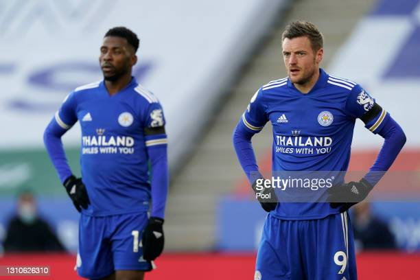Jamie Vardy of Leicester City looks on during the Premier League match between Leicester City and Manchester City at The King Power Stadium on April...