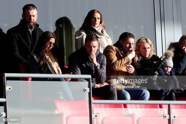 Jamie Vardy of Leicester City looks on from the stand during The Emirates FA Cup Third Round match between Fleetwood Town and Leicester City at...