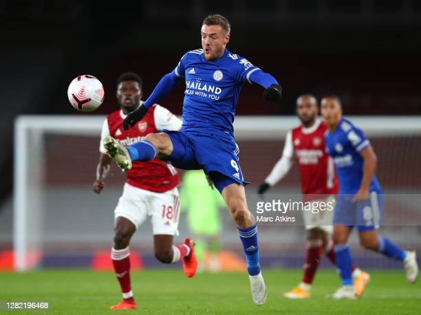 Jamie Vardy of Leicester City looks to control the ball during the Premier League match between Arsenal and Leicester City at Emirates Stadium on...