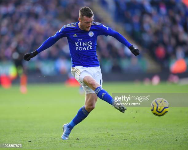 Jamie Vardy of Leicester City passes the ball during the Premier League match between Leicester City and Chelsea FC at The King Power Stadium on...