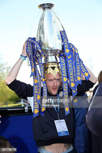 Jamie Vardy of Leicester City poses with the trophy during the Leicester City Barclays Premier League Winners Bus Parade in Leicester City on May...