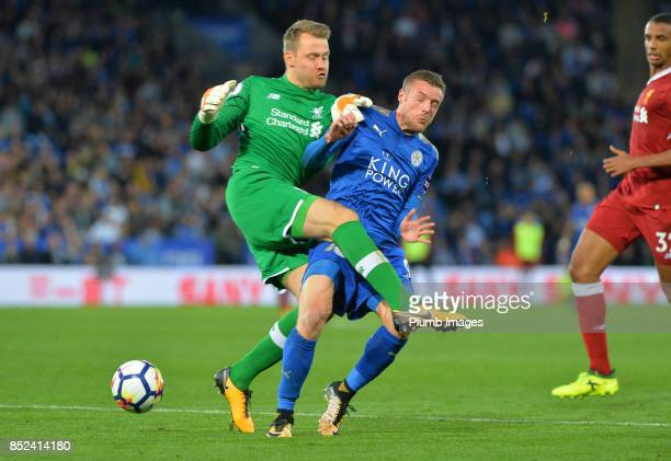 Jamie Vardy of Leicester City puts Simon Mignolet of Liverpool under pressure during the Premier League match between Leicester City and Liverpool at...
