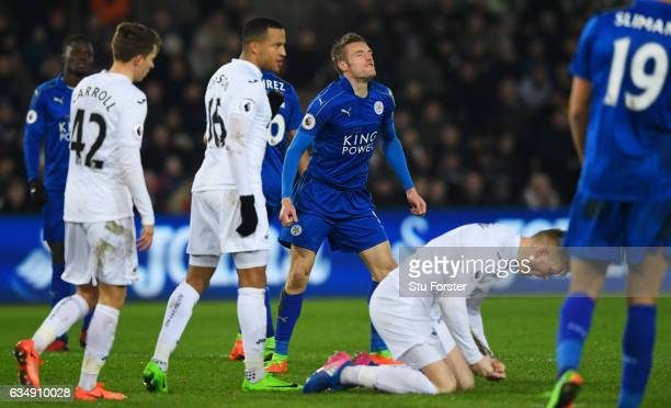 Jamie Vardy of Leicester City reacts after a missed chance during the Premier League match between Swansea City and Leicester City at Liberty Stadium...