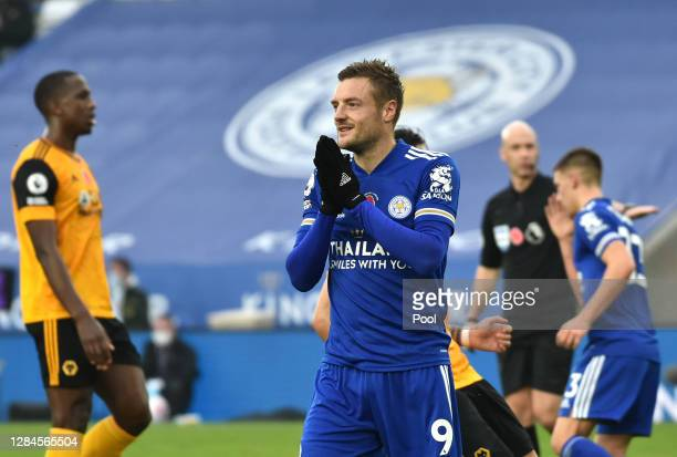Jamie Vardy of Leicester City reacts after his penalty is saved during the Premier League match between Leicester City and Wolverhampton Wanderers at...