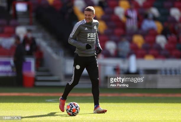 Jamie Vardy of Leicester City reacts as he warms up prior to the Premier League match between Brentford and Leicester City at Brentford Community...