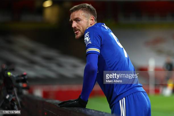 Jamie Vardy of Leicester City reacts during the Premier League match between Arsenal and Leicester City at Emirates Stadium on October 25 2020 in...