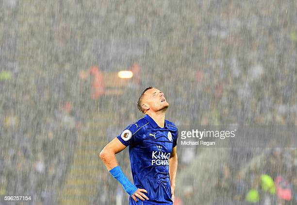Jamie Vardy of Leicester City reacts during the Premier League match between Leicester City and Swansea City at The King Power Stadium on August 27...