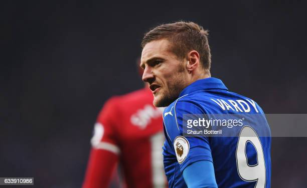Jamie Vardy of Leicester City reacts during the Premier League match between Leicester City and Manchester United at The King Power Stadium on...