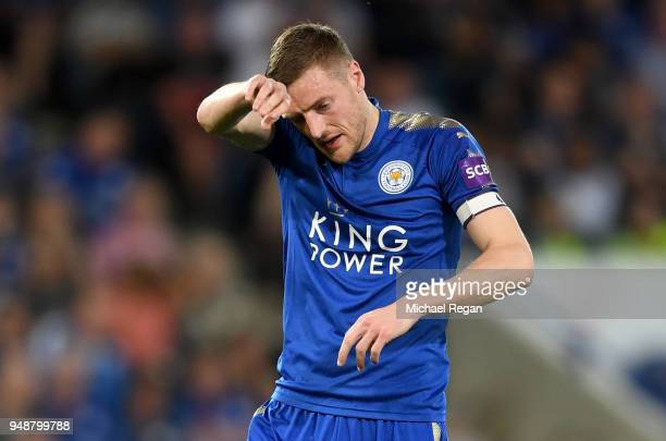 Jamie Vardy of Leicester City reacts during the Premier League match between Leicester City and Southampton at The King Power Stadium on April 19...