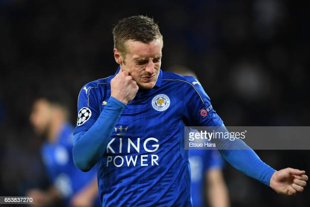 Jamie Vardy of Leicester City reacts during the UEFA Champions League Round of 16 second leg match between Leicester City and Sevilla FC at The King...
