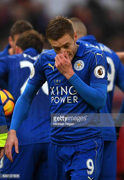 Jamie Vardy of Leicester City reacts to being sent off during the Premier League match between Stoke City and Leicester City at Bet365 Stadium on...