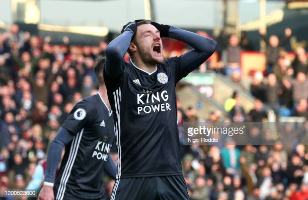 Jamie Vardy of Leicester City reacts to having his penalty saved during the Premier League match between Burnley FC and Leicester City at Turf Moor...
