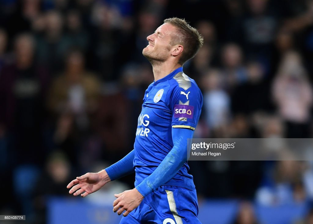 Jamie Vardy of Leicester City reacts to his penalty being saved during the Premier League match between Leicester City and Liverpool at The King Power Stadium on September 23, 2017 in Leicester, England.
