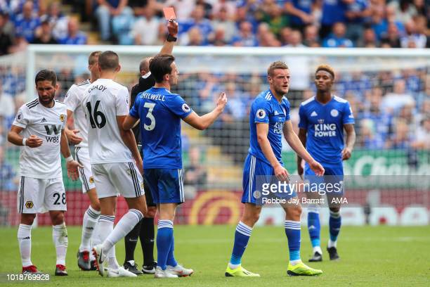 Jamie Vardy of Leicester City receives a straight red card during the Premier League match between Leicester City and Wolverhampton Wanderers at The...