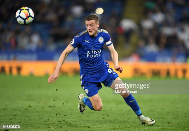 Jamie Vardy of Leicester City runs after the ball during the Premier League match between Leicester City and Southampton at The King Power Stadium on...