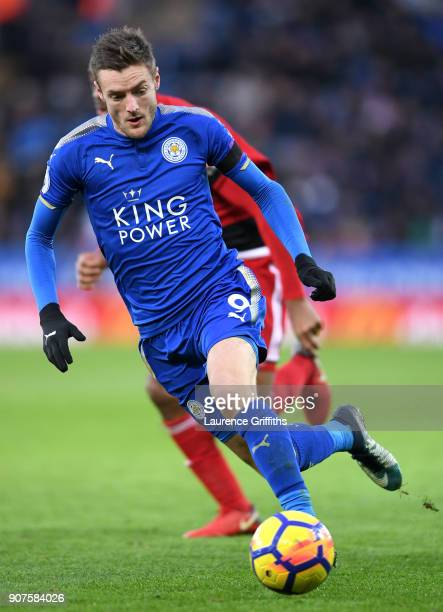 Jamie Vardy of Leicester City runs with the ball during the Premier League match between Leicester City and Watford at The King Power Stadium on...