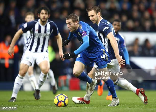 Jamie Vardy of Leicester City runs with the ball during the Premier League match between West Bromwich Albion and Leicester City at The Hawthorns on...