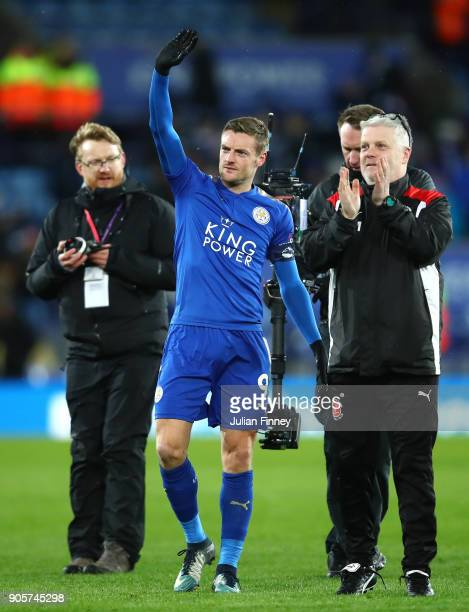 Jamie Vardy of Leicester City salutes the Fleetwood fans after The Emirates FA Cup Third Round Replay match between Leicester City and Fleetwood Town...