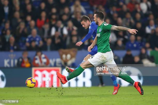 Jamie Vardy of Leicester City scores a goal to make it 20 during the Premier League match between Leicester City and Brighton Hove Albion at The King...